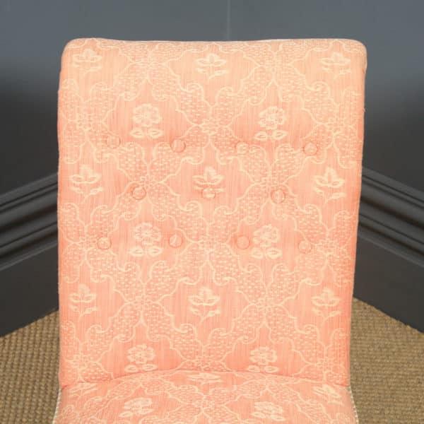 Antique English Victorian Mahogany Upholstered Occasional / Nursing Chair (Circa 1880) - yolagray.com