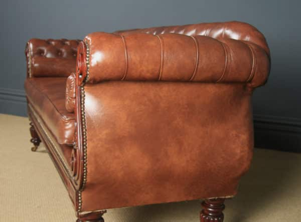 Antique English William IV Mahogany & Brown Leather Double Ended Couch / Settee / Sofa (Circa 1835) - yolagray.com