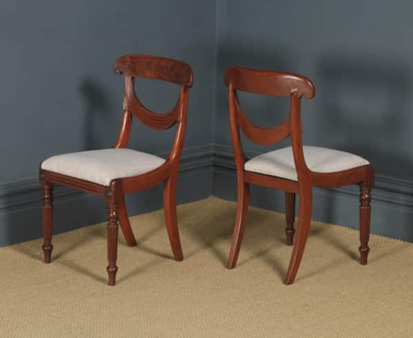 Antique English Georgian Regency Pair Two Mahogany Trafalgar Dining Chairs (Circa 1820) - yolagray.com