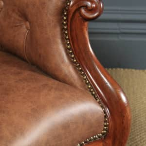 Antique English Victorian Mahogany & Brown Tan Brown Leather Deep Buttoned Reading Armchair (Circa 1850) - yolagray.com