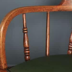 Antique English Edwardian Solid Ash & Oak Green Leather Revolving Office Desk Arm Chair (Circa 1910) - yolagray.com