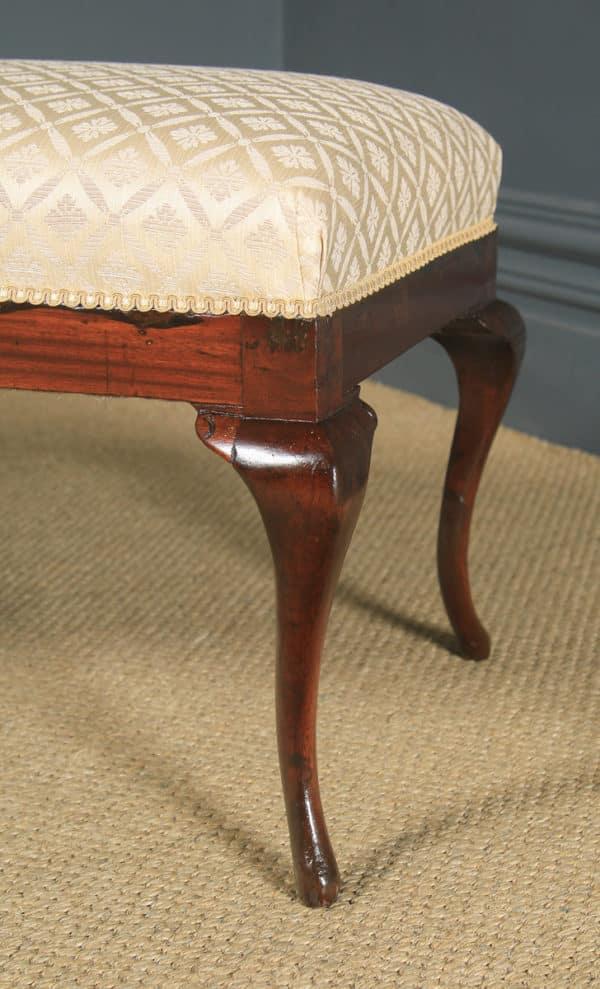 Antique English Edwardian Mahogany Window Seat / Stool / Ottoman (Circa 1910) - yolagray.com