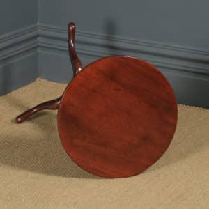 Small Antique English Georgian Mahogany Tripod Circular Pedestal Wine Table (Circa 1780) - yolagray.com