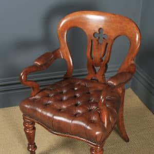 Antique English Pair of Victorian Oak & Brown Leather Office Desk Library Club Arm Chairs (Circa 1860) - yolagray.com