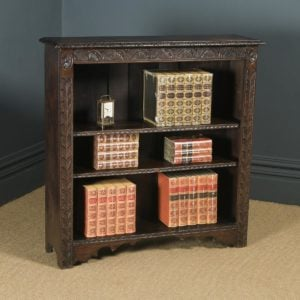 Antique English 17th Style Victorian Carved Open 3½ft Bookcase Shelf (Circa 1890) - yolagray.com