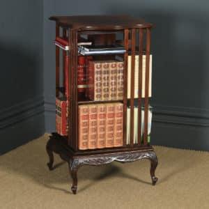 Antique English Edwardian Mahogany Revolving Bookcase Shelf Stand Table (Circa 1910) - yolagray.com