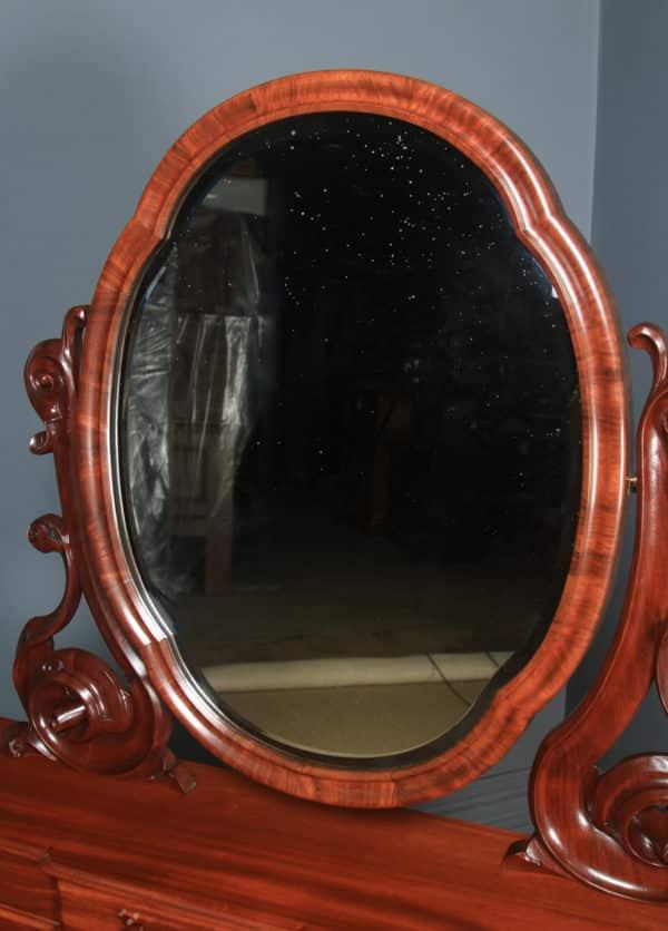 Antique English Victorian Mahogany Pedestal Dressing Table with Mirror (Circa 1870) - yolagray.com