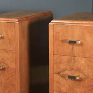 Antique Pair of English Art Deco Figured Walnut Bedside Chests Tables (Circa 1930) - yolagray.com