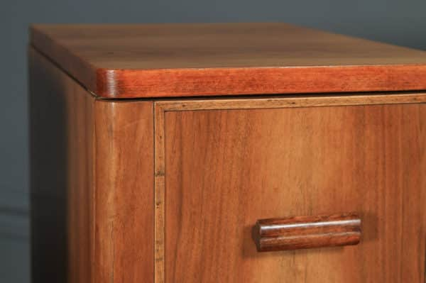 Antique Pair of English Art Deco Figured Walnut Bedside Cabinet Chests Tables Nightstands (Circa 1935) - yolagray.com