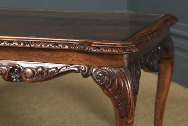 Antique English Queen Anne Style Flame Mahogany & Glass Coffee Table (Circa 1930) - yolagray.com