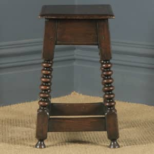 Antique English 17th Style Oak Joint Stool / Side / Lamp Table (Circa 1910) - yolagray.com