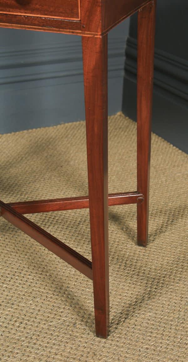 Antique English Georgian Regency Mahogany Inlaid Work Lamp Side Table (Circa 1820) - yolagray.com