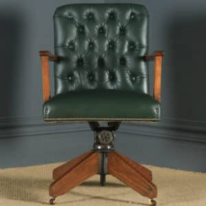 Antique English George V Solid Oak & Green Leather Upholstered Revolving Office Desk Arm Chair (Circa 1920) - yolagray.com