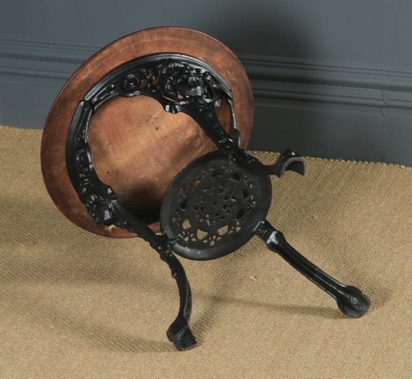 Antique English Victorian Cast Iron & Mahogany Circular Round Britannia Kitchen Garden Table (Circa 1900) - yolagray.com