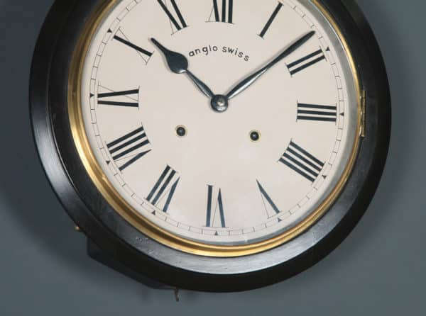 """Antique 15.5"""" Mahogany Anglo Swiss Railway Station / School Round Dial Wall Clock (Chiming) - yolagray.com"""