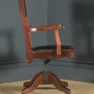 Antique English Edwardian Art Nouveau Ash & Birch Revolving Office Desk Arm Chair (Circa 1910) - yolagray.com
