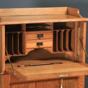 Antique English Edwardian Oak Bureau Pedestal Office Desk (Circa 1910) - yolagray.com