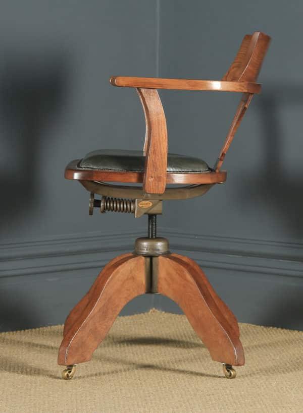 Antique English Edwardian Oak & Pale Green Leather Revolving Office Desk Arm Chair (Circa 1910) - yolagray.com
