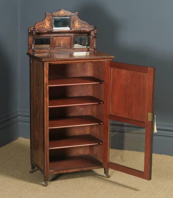 Antique English Edwardian Rosewood Inlaid Sheet Music Display Cabinet (Circa 1910) - yolagray.com
