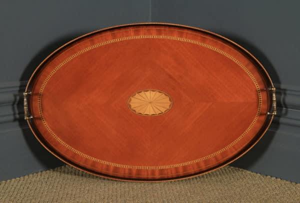 Vintage English Sheraton Style Mahogany & Satinwood Oval Drinks Tray on Table (Circa 1980) - yolagray.com