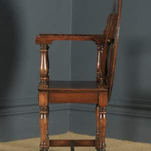 Antique English George V Carved Oak Monks Seat Arm Chair Table (Circa 1910) - yolagray.com