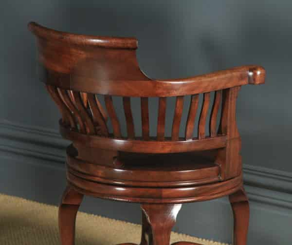 Pair of Antique English Victorian Mahogany Leather Revolving Office Desk Arm Chairs (Circa 1880) - yolagray.com