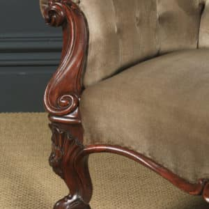 Antique English Victorian Rosewood Upholstered Chaise Longue Sofa Couch (Circa 1850) - yolagray.com
