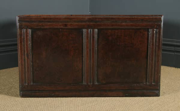 Antique English Charles II Oak Carved Twin Panel Coffer Chest Blanket Box Trunk (Circa 1680) - yolagray.com