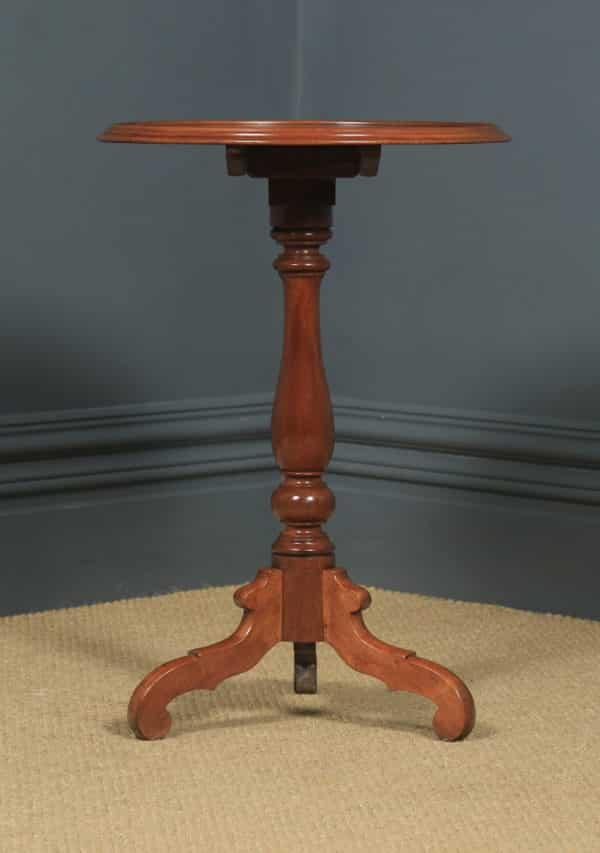 Small Antique English Victorian Mahogany Tripod Circular Pedestal Wine Table (Circa 1850) - yolagray.com