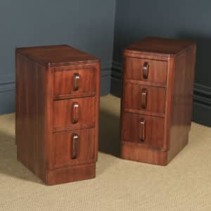 Antique Pair of English Art Deco Figured Mahogany Bedside Cabinet Chests Tables Nightstands (Circa 1935) - yolagray.com