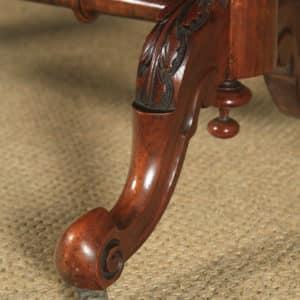 Antique English Victorian Burr Walnut Inlaid Oval Occasional Silver Side Table (Circa 1870) - www.yolagray.com