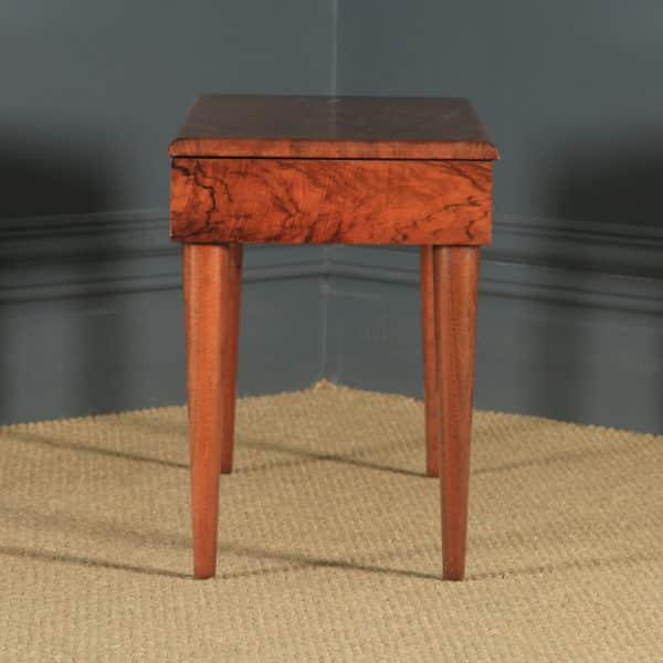 Antique English Art Deco Figured Walnut Concave Bedside / Coffee / Side Box Table (Circa 1935) - yolagray.com