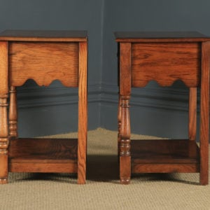 Pair of English 17th Century Style Solid Oak Bedside / Hall Side Tables by Kirkland Kitchens (Circa 1990) - yolagray.com