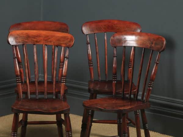 Antique English Victorian Set of Six 6 Ash & Elm Windsor Bar & Stick Back Kitchen Chairs (Circa 1890) - yolagray.com