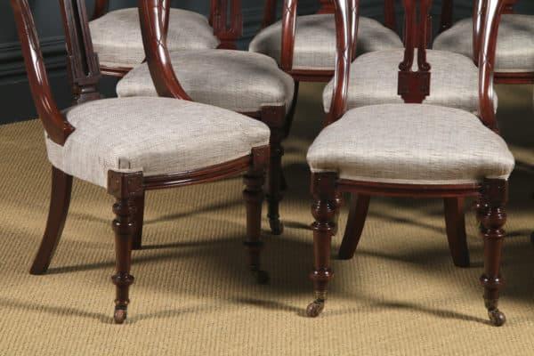Antique English Victorian Set of Ten 10 Mahogany Bow Back Dining Chairs (Circa 1880) - yolagray.com