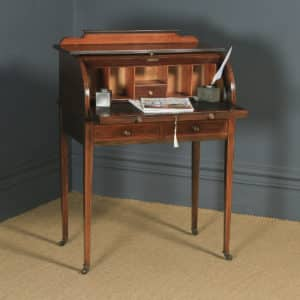 Antique English Edwardian Mahogany & Leather Cylinder Office Roll Top Writing Table / Desk (Circa 1910) - yolagray.com