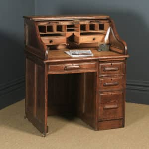 Antique English Edwardian 3ft Oak Angus Roll Top Pedestal Office Desk (Circa 1910) - yolagray.com