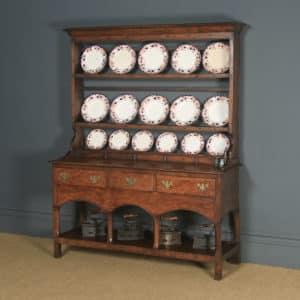 Antique Welsh Carmarthenshire Georgian Oak Dresser Base Sideboard Potboard & Rack (Circa 1790) - yolagray.com