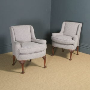 Antique English Pair of Georgian Style Grey Upholstered Beech Arm Chairs (Circa 1900) - yolagray.com