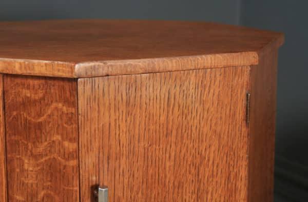 Antique English Art Deco Oak Octagonal Bedside Cabinet Table Nightstand (Circa 1941) - yolagray.com