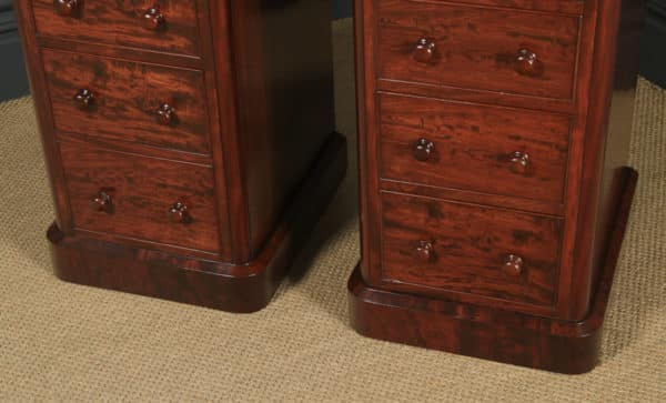 Antique English Pair of Victorian Figured Mahogany Bedside Chests / Tables / Nightstands (Circa 1860) - yolagray.com