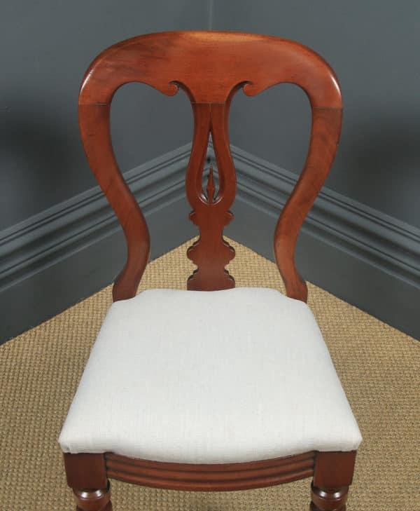Antique English Victorian Set of 12 Twelve Mahogany Balloon Spear Back Dining Chairs (Circa 1860) - yolagray.com