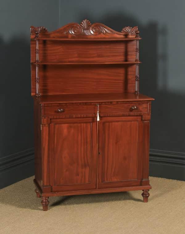 Antique English Georgian Regency Two Door Chiffonier Cabinet Sideboard (Circa 1830) - yolagray.com