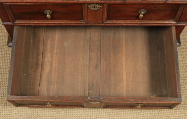Antique English 17th Century William & Mary Oak & Fruitwood Geometric Two-Part Chest of Drawers (Circa 1690) - yolagray.com