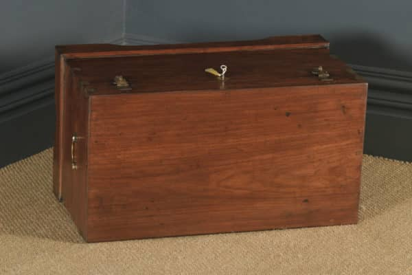 Antique Victorian Anglo Indian Colonial Campaign Teak & Brass Chest / Trunk (Circa 1870) - yolagray.com