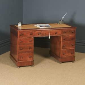 "Antique English Victorian 3ft 10"" Mahogany & Leather Pedestal Office Desk (Circa 1870) - yolagray.com"